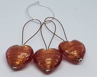 Large burnished heart stitch markers
