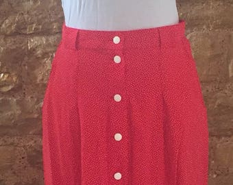 Vintage Polka dot red high waisted skirt Size SMALL