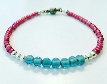 Pink and blue glass beaded friendship bracelet
