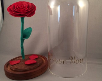 Personalized Beauty and the Beast rose dome, handmade clay rose glass dome, Beauty and the Beast wedding, forever rose, beauty beast wedding