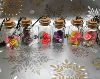 purple roses, corked dome necklace, rose charms, corked dome,beauty and the beast necklace, roses necklace, charm necklace