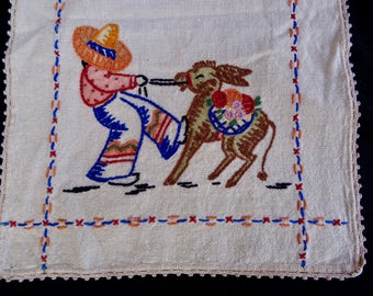 1940's Table Runner with Hand Embroidered Folk Scene of Mexican Man and Woman with Burrows/ Mexican Burrows and Peasants on Vintage Runner
