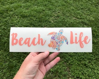 Beach Life Decal, Sea Turtle Decal, Vinyl Decal, Sea Turtle, Car Decal, Laptop Decal, Beach Decal, Custom Decal