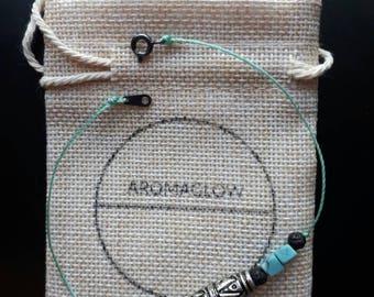 Aromaglow anklet ankle bracelet, turquoise, lavastone essential oil diffuser jewellery, tibetan silver boho ladies anklet jewellery