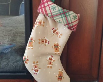 Gingerbread and Plaid Mini Christmas Stocking