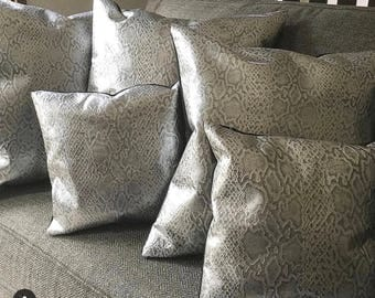 Silver Leather Python Embossed Throw Pillow