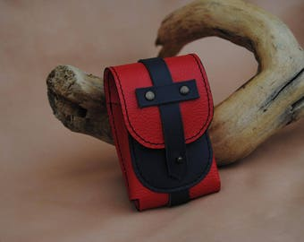 Navy and red leather cigarette case