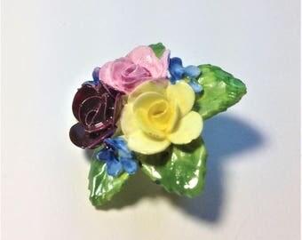 Vintage English Porcelain Brooch, Rose Brooch, Forget Me Not Brooch, Flower Lapel Brooch