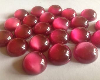 Vintage Czech glass stones 18mm cabochons large pink round cabs repair