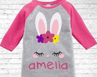 Easter shirt for girl, easter toddler shirt, rabbit shirt for her, toddler bunny shirt, easter egg shirt, raglan easter shirt, personalized