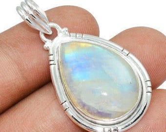 Natural Rainbow Moonstone Pendant - Goddess Pendant