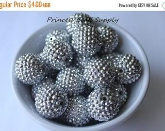 SALE Big 24mm Silver AB Rhinestone Chunky Beads Set of 6, 24mm Focal Bead,  Bubble Gum Beads, Gumball Beads, Acrylic Beads