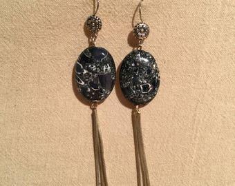Earrings blue silver
