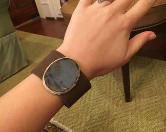 Leather Druzy Snap Cuff