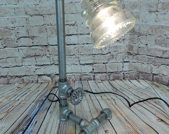 Pipe Lamp, Industrial lamp, Steampunk Lamp ,Vintage Insulator, Lamp, Glass Insulator Lamp, galvanized pipe,iron pipe lamp