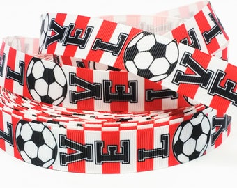 "7/8"" inch LOVE SOCCER Red and White Stripes Sports Printed Grosgrain Ribbon for Hair Bow - Original Design"