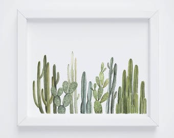 Row of Cactus Print - cactus painting - cacti - cactus watercolor - home decor painting - southwestern painting - greenery - cacti art