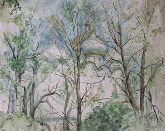 Novodevichy Convent, Dome Novodevichy Convent, trees, spring, lace, light