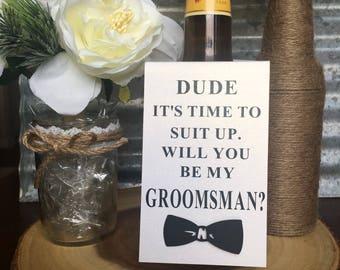 Groomsmen proposal,  6 beer bottle tags, groomsen beer bottle hanger