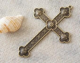 Classical flower crosses charm pendant,52x77mm Pendant, Antique Bronze Supplies,DIY Supplies