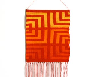Red Orange Geometric Retro Pattern Textile Art Handwoven Wall Hanging: Tapestry Weaving