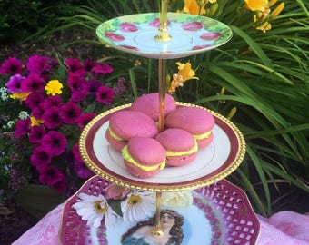 Antoinette, Vintage Tea Party, Floral Plates, Shabby Chic, Three Tier, 3 Tier Tray, Tiered Stand, Antique Plates, Server, Cake Stand, Tiered