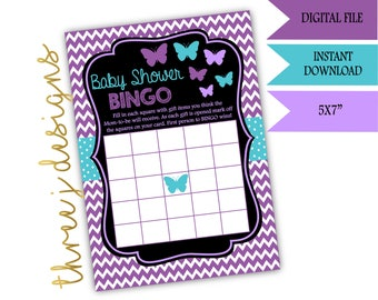 Butterfly Baby Shower BINGO Game - INSTANT DOWNLOAD - Purple and Teal - Digital File - J001