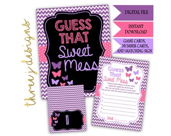 Butterfly Baby Shower Guess That Sweet Mess Game Cards and Sign - INSTANT DOWNLOAD - Purple and Pink - Digital File - J002