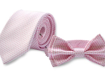 Blush Pink Necktie & Blush Pink Bow Tie -- Father Son Matching Necktie Bow Tie