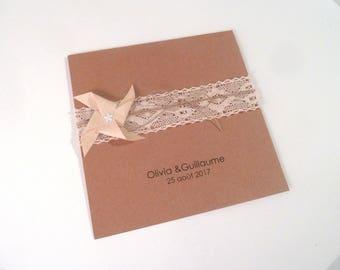 Wedding, birth, baptism - greeting card, 15 x 15 cm windmill wind + lace / handmade / handcrafted