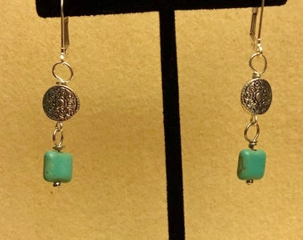 Teal Magnesite and Silver Lever Back Earrings