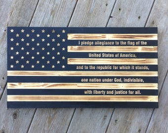 Engraved Wooden American Flag with pledge of Allegiance