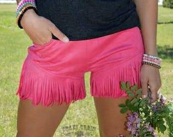 Crazy train pink fringe shorts