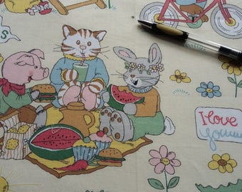 2 x Beautiful, Vintage Richard Scarry Fabric Panels, C1970s Cotton.