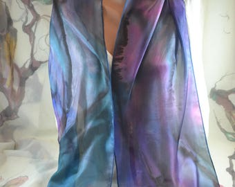 Fashion scarf Hand painted silk scarf Painted scarf Accessories,  gift, present for woman, batik scarf, purple, blue