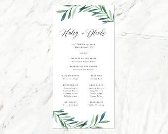 Eucalyptus Wedding Program, Greenery Wedding Program, Simple Greenery Wedding Program