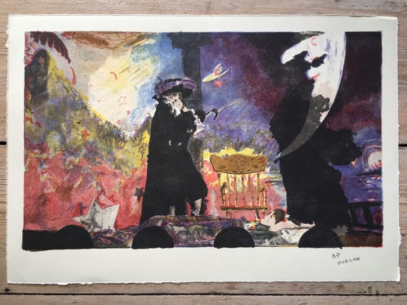 Modern British Howard J Morgan (b1949.) colour lithograph artists proof of Peter Pan's Captain Hook