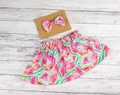 Watermelon Skirt- watermelon party outfit, watermelon birthday outfit, watermelon baby shower, watermelon print skirt, toddler skirt