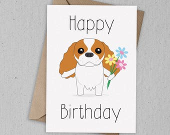 Cavalier King Charles Spaniel Birthday Card