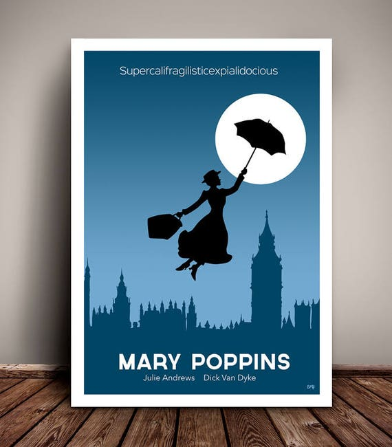 Mary Poppins // Disney // Minimalist Movie Poster // Unique A4 / A3 Art Print