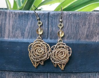Wirework Rose Earrings with Citrine