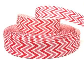 Pink Chevron Ribbon, Pink Ribbon, Light Pink Ribbon, Bright Pink Ribbon, Shocking Pink Ribbon, Pink Grosgrain, Chevron theme Ribbon