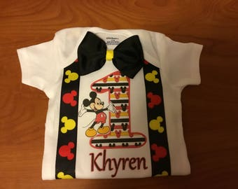 Little boys handmade  Mickey Mouse birthday shirt