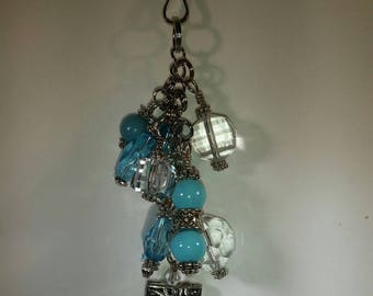 Turquoise and Crystal World's Puffed Tibetan Square Purse Dangle, Turquoise Blue Zipper Pull, Bag Bling, Zipper Charm