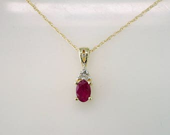 Brand New .60ct Ruby and Diamonds Gold Pendant Necklace