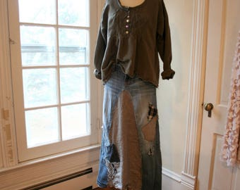 Recycled Jeans Skirt / Altered Couture Maxi Skirt / - by Breathe-Again Clothing