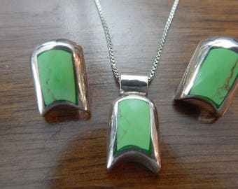 Mexico Sterling Green Turquois Necklace and Earrings