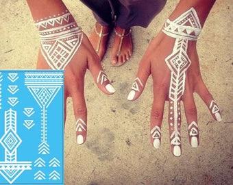 White Henna Festival Tattoo - Tribal Tattoo - White Ink Temporary Tattoo