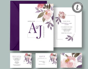 Floral Watercolor Wedding Invitation, RSVP, Detail Card, Printable Template, Pink Blush, DIY Editable Invitation Wedding Suite, TEMPLETT