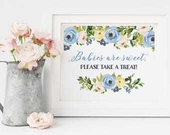 Baby Shower Sign, Babies Are Sweet Sign, Take a Treat Sign, Babies are Sweet Please Take A Treat, Baby Shower Invitation, Boy Baby Shower